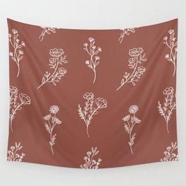 Botanical Wildflowers Line Art Wall Tapestry