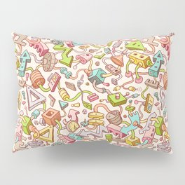 Seamless Technology Background in Doodle Style Pillow Sham