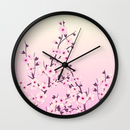 Cherry Blossoms Pink Wall Clock