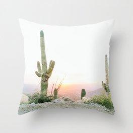 arizona desert print of a saguaro, cactus print, botanical print, cactus wall art Throw Pillow