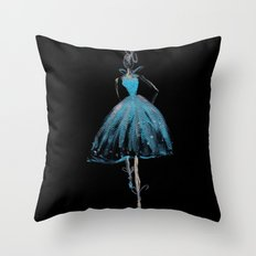 Blue and Light Haute Couture Fashion Illustration Throw Pillow