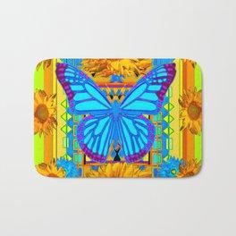 Lime Sunflower Blue Butterfly Floral Bath Mat