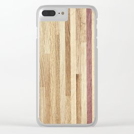 Wooden wall panel Clear iPhone Case
