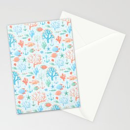 Nautical Ocean Animals Watercolor Pattern Stationery Cards