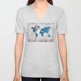 world map 96 blue #worldmap #map Unisex V-Neck