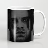 "bucky barnes Mugs featuring Bucky Barnes ""The Winter Soldier"" Portrait by thecannibalfactory"