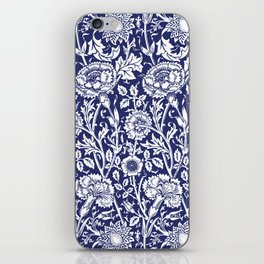 "William Morris Floral Pattern | ""Pink and Rose"" in Navy Blue and White iPhone Skin"