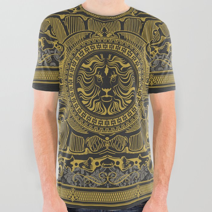 huge selection of eb441 fdfc2 Medallion Lion Black Gold All Over Graphic Tee