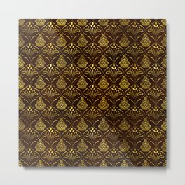 Hamsa Hand pattern -gold on brown glass Metal Print