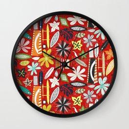 beachy red Wall Clock