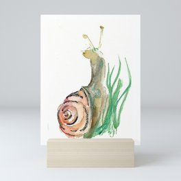 Searching - Watercolor and Gold Leaf Snail Mini Art Print