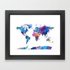world map watercolor 2 Framed Art Print