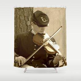 Civil War Fiddle Player Shower Curtain