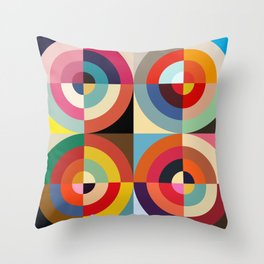 4 Seasons - Colorful Classic Abstract Minimal Retro 70s Style Graphic Design Throw Pillow
