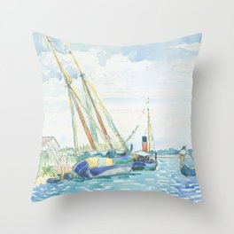 Marine Scene (Boats near Venice) by Henri-Edmond Cross1903, French Throw Pillow