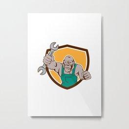 Angry Gorilla Mechanic Spanner Shield Cartoon Metal Print