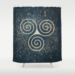 Triskelion Golden Three Spiral Celtic Symbol Shower Curtain