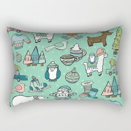 Christmas Time, Christmas Critter, Aqua Blue, Holly Jolly Holiday Pattern Rectangular Pillow