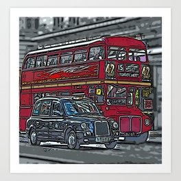 London bus and cab Art Print