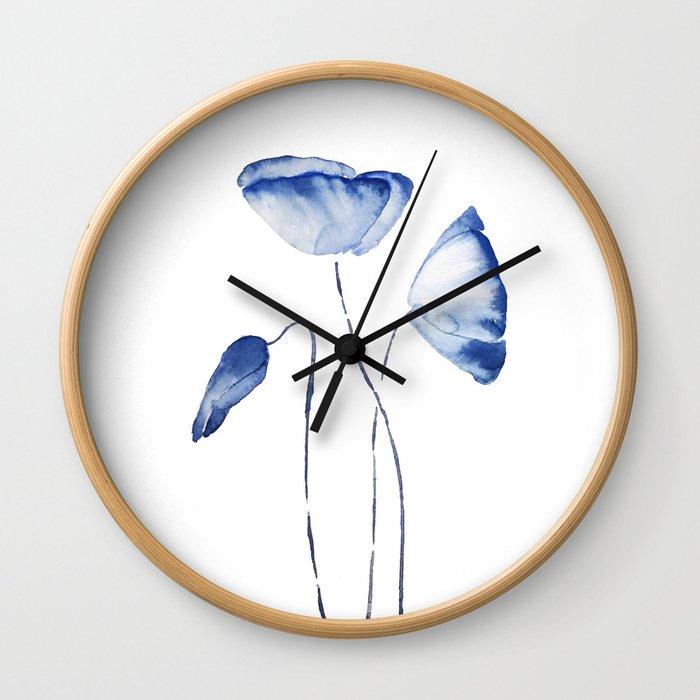 indigo poppy watercolor Wall Clock
