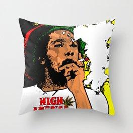 High America- Reggae Rastafarian Legend, Graphic Portrait Art Throw Pillow
