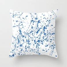 Splat Blue on White Throw Pillow