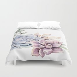 Pristine Succulents Blue and Pink Duvet Cover