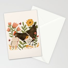 Chicken Reading a Book Stationery Cards