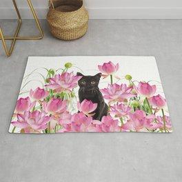 Black Cat Lotos Flower Gras Rug