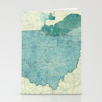 ohio state Stationery Cards featuring Ohio State Map Blue Vintage by City Art Posters
