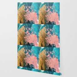 Coral Reef [1]: colorful abstract in blue, teal, gold, and pink Wallpaper