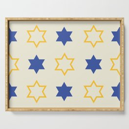 Star of David Yellow and  Blue on Cream background Serving Tray