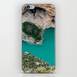 Blue river between the cliffs iPhone Skin
