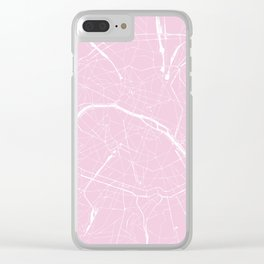 Paris France Minimal Street Map - Pretty Pink Clear iPhone Case