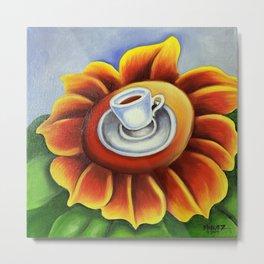 Espresso Cuban Coffee Cup on Flower. Miguez Art. Metal Print