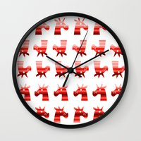 unicorns Wall Clocks featuring Peppermint Unicorns by That's So Unicorny