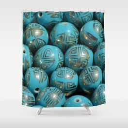 Chinese Porcelain Beads In Blue Shower Curtain