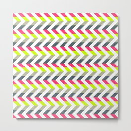 Neon Strawberry - Chevron Geometric Pattern Metal Print