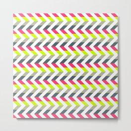 Neon Strawberry - Chevron Geometric Pattern Metal Print
