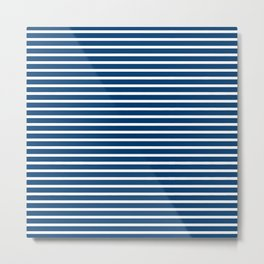 Sailor Stripes White & Navy Metal Print