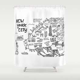New York City Map Shower Curtain