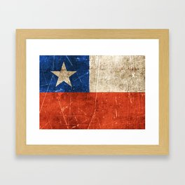 Vintage Aged and Scratched Chilean Flag Framed Art Print