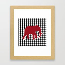 Houndstooth and Elephant Framed Art Print
