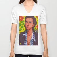 nick cave V-neck T-shirts featuring Spotty Nick by Anna Gogoleva