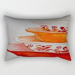Friendship and Americana Vintage Orange Pyrex Rectangular Pillow