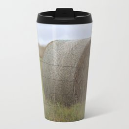 Kansas Hay Bale in a field with a fence Travel Mug