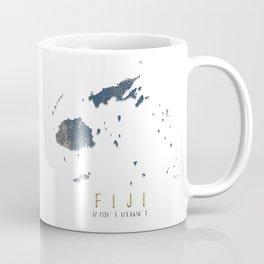 Blue and Gold Map of Fiji Coffee Mug