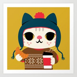 Holiday - Cat in a Sweater / Mustard Yellow Art Print