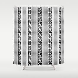 Black And White Hibiscus Honu Stripes Shower Curtain