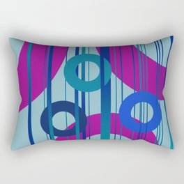 Big and small Rings  Pink - Blue - Turquoise Design Rectangular Pillow
